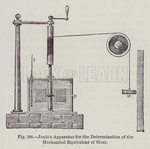 Joule's Apparatus for the Determination of the Mechanical Equivalent of Heat. Illustration for The Household Physician by J M'Gregor-Robertson (Blackie, c 1870).