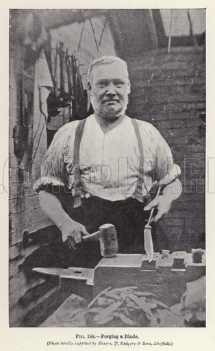 Forging a Blade. Illustration for How It Is Made by Archibald Williams (Thomas Nelson, c 1913).