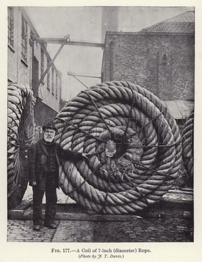 A Coil of 7-inch (diameter) Rope. Illustration for How It Is Made by Archibald Williams (Thomas Nelson, c 1913).