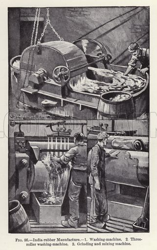 India-rubber Manufacture. Illustration for How It Is Made by Archibald Williams (Thomas Nelson, c 1913).