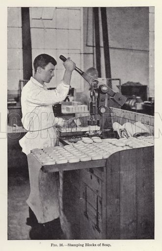 Stamping Blocks of Soap. Illustration for How It Is Made by Archibald Williams (Thomas Nelson, c 1913).