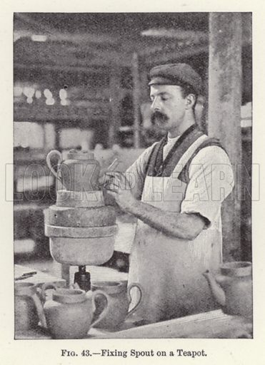 Fixing Spout on a Teapot. Illustration for How It Is Made by Archibald Williams (Thomas Nelson, c 1913).