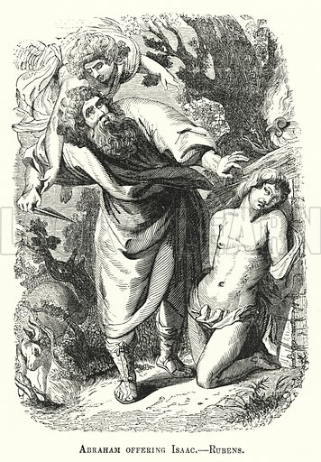 Abraham offering Isaac. Illustration for Youth's Illustrated Bible History by D W Thomson (National Publishing Co, 1869).