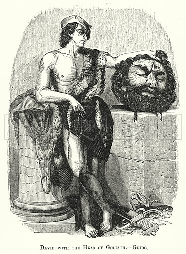David with the Head of Goliath. Illustration for Youth's Illustrated Bible History by D W Thomson (National Publishing Co, 1869).