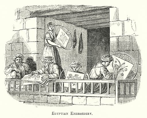 Egyptian Embroidery. Illustration for Youth's Illustrated Bible History by D W Thomson (National Publishing Co, 1869).