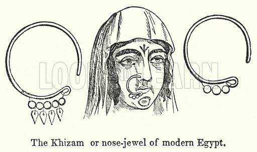 The Khizam or nose-jewel of modern Egypt. Illustration for Youth's Illustrated Bible History by D W Thomson (National Publishing Co, 1869).