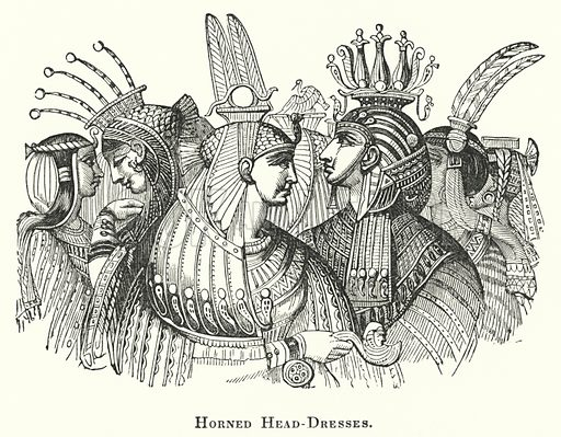 Horned Head-Dresses. Illustration for Youth's Illustrated Bible History by D W Thomson (National Publishing Co, 1869).