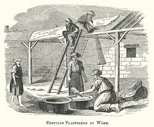 Egyptian Plasterers at Work. Illustration for Youth's Illustrated Bible History by D W Thomson (National Publishing Co, 1869).