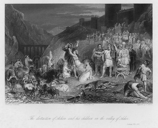 The Conviction of Achan, Joshua VII, 21. Illustration for Historic Illustrations of the Bible principally after the Old Masters (Fisher, c 1850).