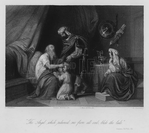 Jacob blessing Ephraim and Manasseh, Genesis XLVIII, 16. Illustration for Historic Illustrations of the Bible principally after the Old Masters (Fisher, c 1850).
