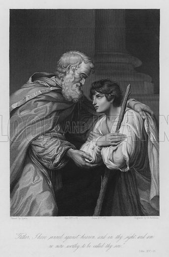 The Prodigal Son, Luke XV, 21. Illustration for Historic Illustrations of the Bible principally after the Old Masters (Fisher, c 1850).