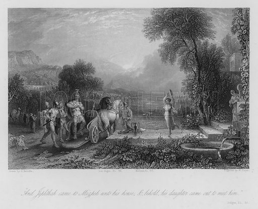 Jephthah's Vow, Judges XI, 34. Illustration for Historic Illustrations of the Bible principally after the Old Masters (Fisher, c 1850).