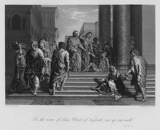 The Lame Man healed by Peter and John, Acts III, 6. Illustration for Historic Illustrations of the Bible principally after the Old Masters (Fisher, c 1850).