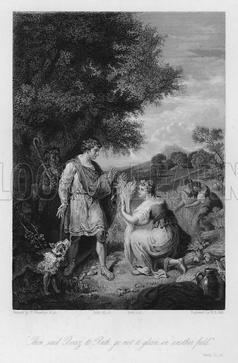 Boaz and Ruth, Ruth II, 8. Illustration for Historic Illustrations of the Bible principally after the Old Masters (Fisher, c 1850).