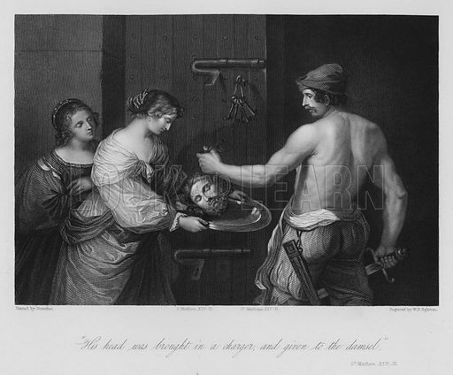 Death of John the Baptist, St Matthew XIV, 11. Illustration for Historic Illustrations of the Bible principally after the Old Masters (Fisher, c 1850).