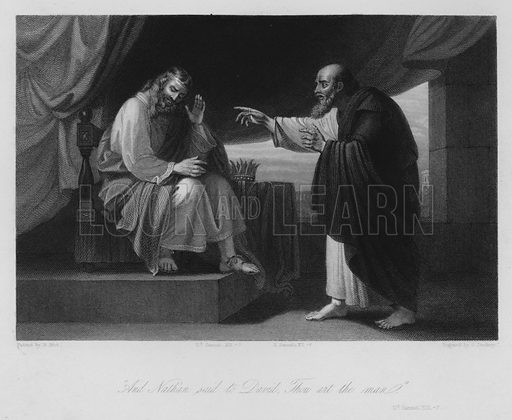 Nathan and David, II Samuel XII, 7. Illustration for Historic Illustrations of the Bible principally after the Old Masters (Fisher, c 1850).