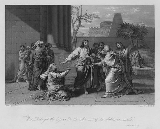 The Syrophenician Woman, Mark VII, 28. Illustration for Historic Illustrations of the Bible principally after the Old Masters (Fisher, c 1850).