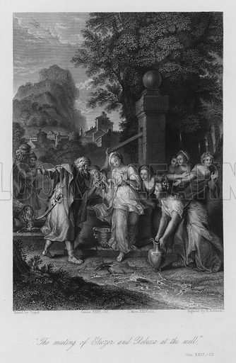 Rebekah at the Well, Genesis XXIV, 22. Illustration for Historic Illustrations of the Bible principally after the Old Masters (Fisher, c 1850).