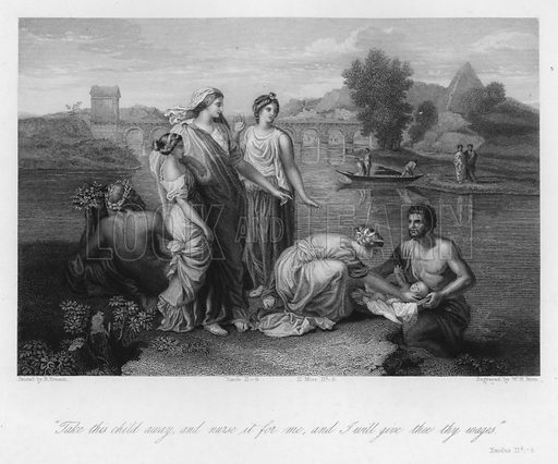 The Finding of Moses, Exodus II, 9. Illustration for Historic Illustrations of the Bible principally after the Old Masters (Fisher, c 1850).