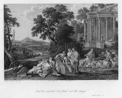 Laban searching for his Images, Genesis XXXI, 35. Illustration for Historic Illustrations of the Bible principally after the Old Masters (Fisher, c 1850).