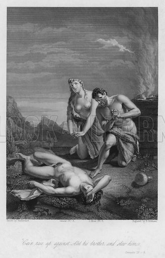 The First Death, Genesis IV, 8. Illustration for Historic Illustrations of the Bible principally after the Old Masters (Fisher, c 1850).