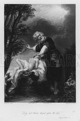 Abraham offering up Isaac, Genesis XXII, 12. Illustration for Historic Illustrations of the Bible principally after the Old Masters (Fisher, c 1850).
