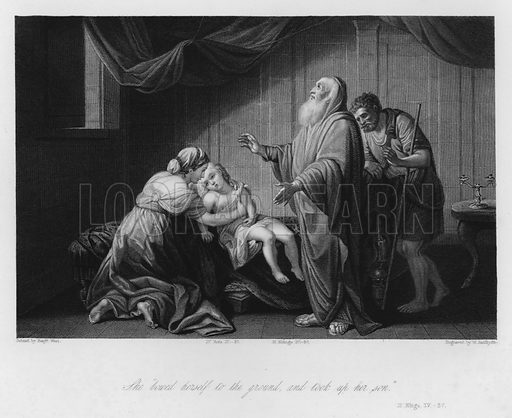 The Shunammite's Son restored to Life, II Kings IV, 37. Illustration for Historic Illustrations of the Bible principally after the Old Masters (Fisher, c 1850).