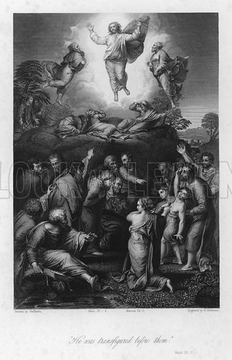 The Transfiguration, Mark IX, 2. Illustration for Historic Illustrations of the Bible principally after the Old Masters (Fisher, c 1850).