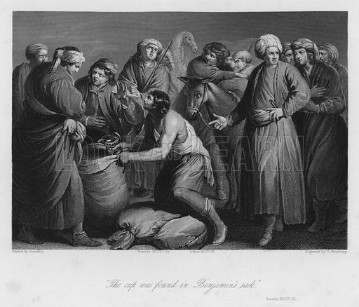 The Cup found in Benjamin's Sack, Genesis XLIV, 12. Illustration for Historic Illustrations of the Bible principally after the Old Masters (Fisher, c 1850).