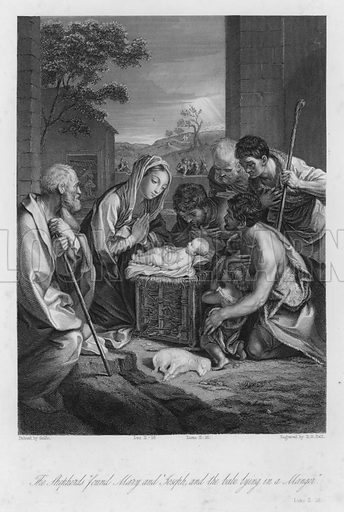 The Nativity, Luke II, 16. Illustration for Historic Illustrations of the Bible principally after the Old Masters (Fisher, c 1850).
