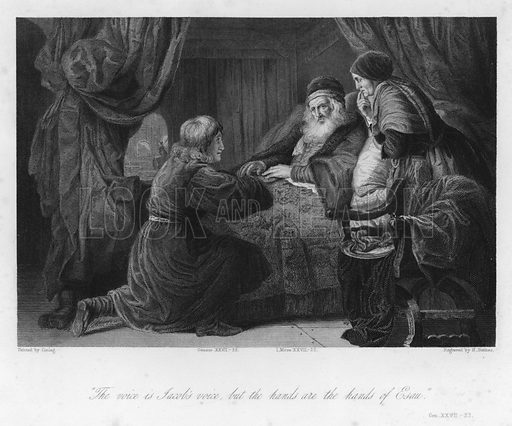 Isaac blessing Jacob, Genesis XXVII, 22. Illustration for Historic Illustrations of the Bible principally after the Old Masters (Fisher, c 1850).