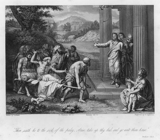 The Palsied Man cured, Matthew IX, 6. Illustration for Historic Illustrations of the Bible principally after the Old Masters (Fisher, c 1850).