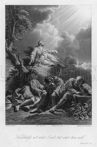 Christ's Agony, Mark XIV, 36. Illustration for Historic Illustrations of the Bible principally after the Old Masters (Fisher, c 1850).
