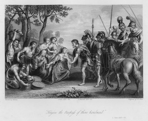 The Meeting of David and Abigail, I Samuel XXV, 28. Illustration for Historic Illustrations of the Bible principally after the Old Masters (Fisher, c 1850).