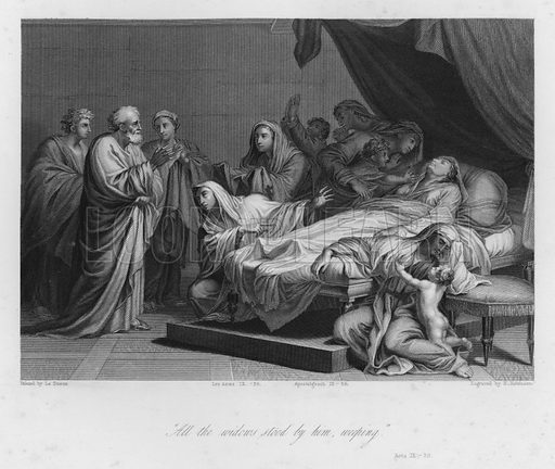 The Raising of Dorcas, Acts IX, 39. Illustration for Historic Illustrations of the Bible principally after the Old Masters (Fisher, c 1850).