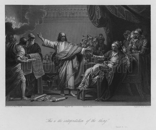 Belshazzar's Vision, Daniel V, 26. Illustration for Historic Illustrations of the Bible principally after the Old Masters (Fisher, c 1850).