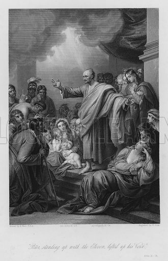 Peter's Sermon at Jerusalem, Acts II, 14. Illustration for Historic Illustrations of the Bible principally after the Old Masters (Fisher, c 1850).