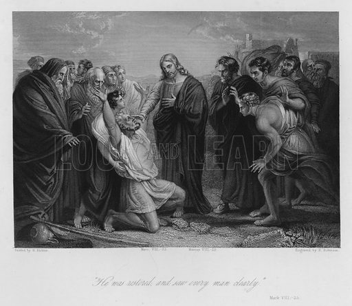 Christ curing the Blind, Mark VIII, 25. Illustration for Historic Illustrations of the Bible principally after the Old Masters (Fisher, c 1850).