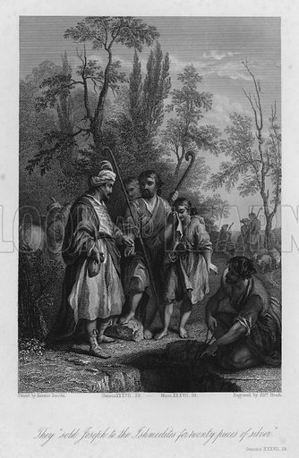 Joseph sold to the Ishmeelite Merchants, Genesis XXXVII, 28. Illustration for Historic Illustrations of the Bible principally after the Old Masters (Fisher, c 1850).