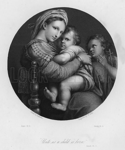 The Holy Family, Isaiah IX, 6. Illustration for Historic Illustrations of the Bible principally after the Old Masters (Fisher, c 1850).