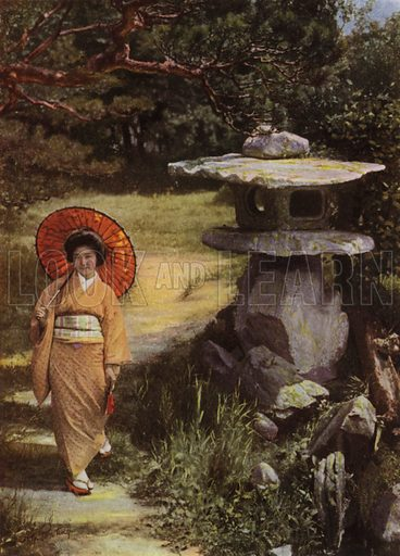 The Girl and the Lantern. Illustration for In Lotus-Land Japan by Herbert G Ponting (new and rev edn, 1922).