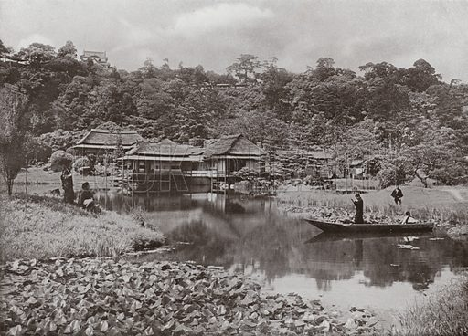 The Ha-Kei-Tei Inn and Garden at Hikone. Illustration for In Lotus-Land Japan by Herbert G Ponting (new and rev edn, 1922).