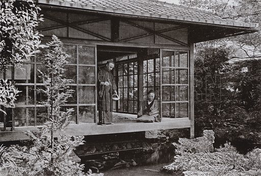 Namikawa San feeding His Carp. Illustration for In Lotus-Land Japan by Herbert G Ponting (new and rev edn, 1922).