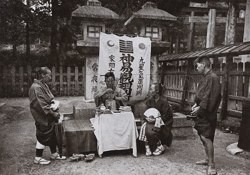 A Fortune-Teller at Inari Temple. Illustration for In Lotus-Land Japan by Herbert G Ponting (new and rev edn, 1922).