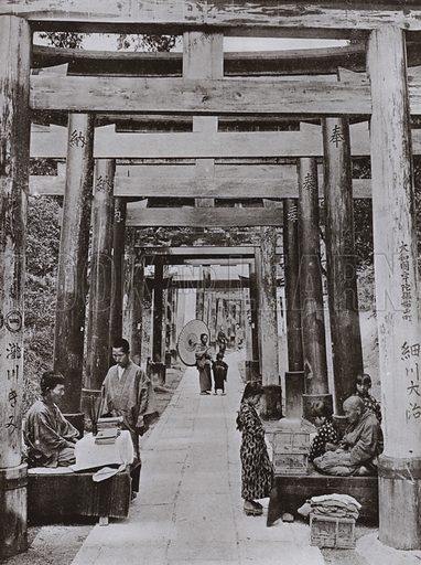 An Avenue of Torii at Inari Temple. Illustration for In Lotus-Land Japan by Herbert G Ponting (new and rev edn, 1922).