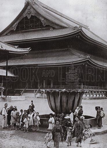 Higashi Hongwanji Temple, Kyoto. Illustration for In Lotus-Land Japan by Herbert G Ponting (new and rev edn, 1922).