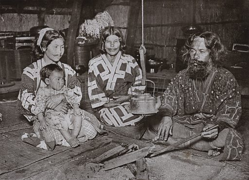 Ainu Man and Women at Home. Illustration for In Lotus-Land Japan by Herbert G Ponting (new and rev edn, 1922).