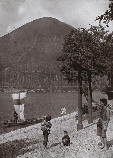 Nantai-zan and Lake Chuzenji. Illustration for In Lotus-Land Japan by Herbert G Ponting (new and rev edn, 1922).