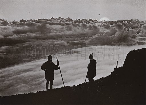 Sunset from the Summit of Fuji. Illustration for In Lotus-Land Japan by Herbert G Ponting (new and rev edn, 1922).