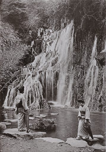 The Waterfall of Falling Jewels at Yumoto. Illustration for In Lotus-Land Japan by Herbert G Ponting (new and rev edn, 1922).